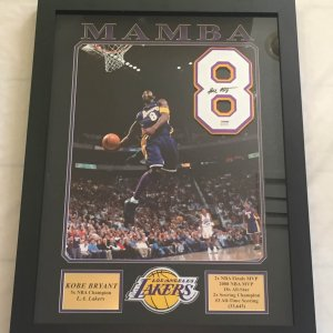 Kobe Bryant Signed Jersey #8 Display 30.5x23.5in Early Career Full Signature PSA