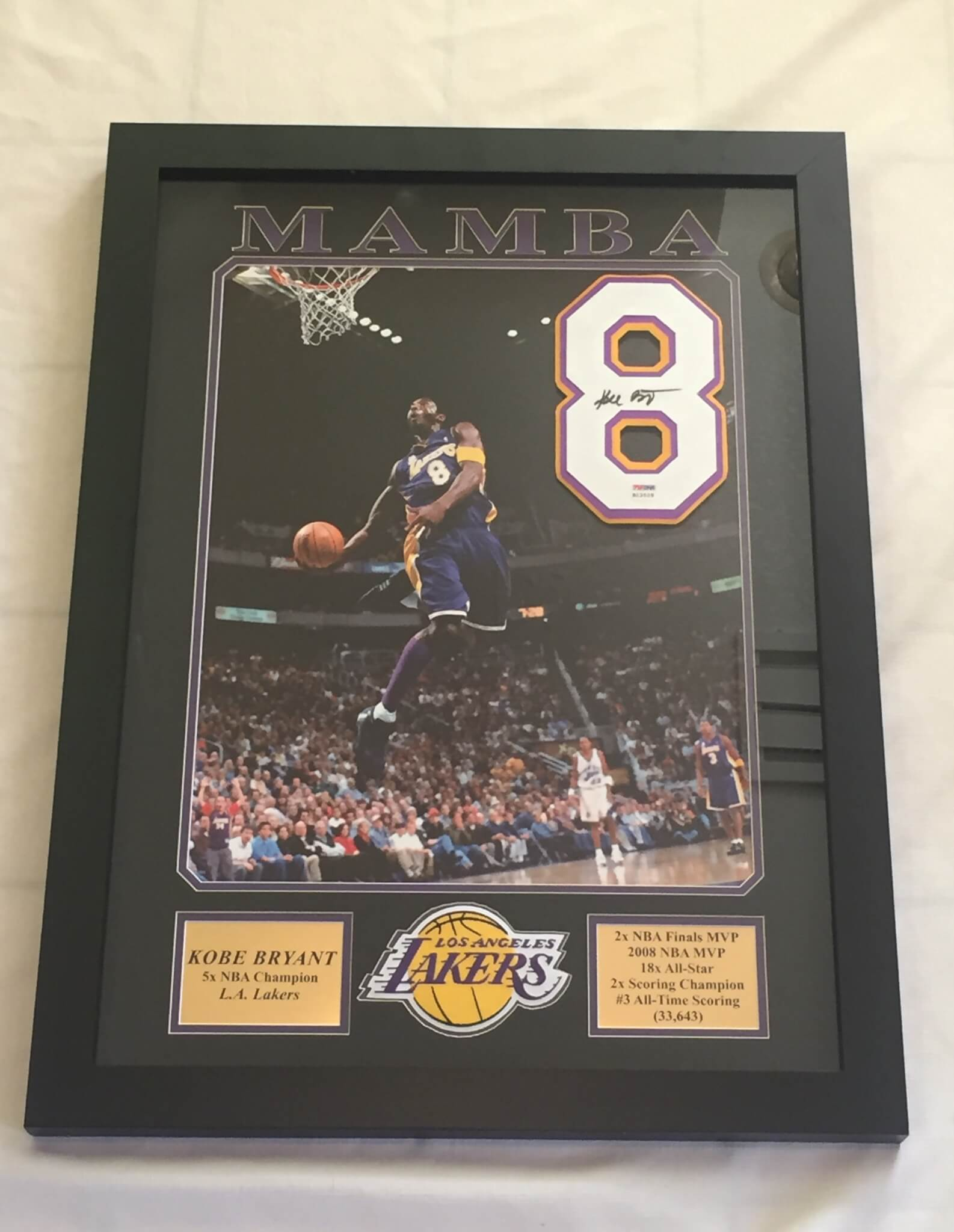 Kobe Bryant Signed Jersey #8 Full Signature PSA