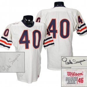 Late '60s Gale Sayers Game-Worn, Signed Chicago Bears Jersey (w/Team Repairs) COA 100% Team