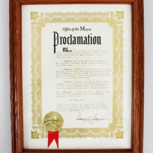 Mayor Donald Cronin Signed Joe Louis Day Proclamation Award