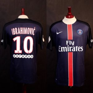 A Zlatan Ibrahimovic Game-Used & Unwashed #10 Paris Saint Germain Home Shirt.  1/31/2016 PSG v. St Etienne (2-0).