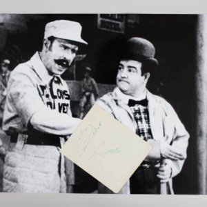 Rare - Bud Abbott & Lou Costello Signed 5x6 Cut W/ 16x20 Photo - JSA Full LOA
