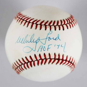 "Whitey Ford Signed Inscribed ""HOF 74"" OAL Ball"