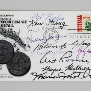 NFL Football HOFer's Multi-Signed FDC Cachet 10 Sigs. Bronko Nagurski, Art Rooney, Bulldog Turner etc. - JSA