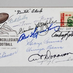 NFL NCAA HOFer's Multi-Signed FDC Cachet - 10 Sigs. Tom Fears, Dutch Clark etc.  JSA