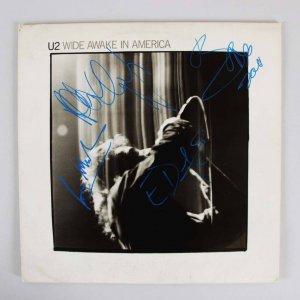 "U2 Signed ""Wide Awake In American"" Album 21x21 Display - COA GAI"