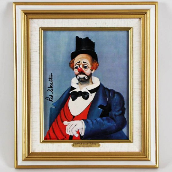 """Red Skelton Signed """"Little Blue Clown"""" 8x10 Lithograph"""