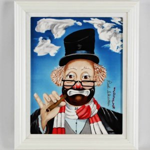 "Red Skelton Signed ""Another Day"" 14x17 Porcelain Artwork"