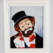 "Red Skelton Signed ""Red and Freddie Both Turn 80"" 14x17 Porcelain Artwork"