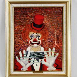"""Red Skelton Signed """"Stringing Along"""" 14x18 Lithograph"""