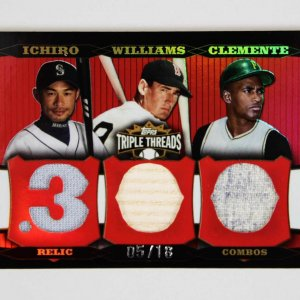 2006 Topps Triple Threads .300 Relic Combos Game-Used Bat Jersey Card Clemente, Ichiro, Williams 5/18