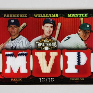 2006 Topps Triple Threads MVP Relic Combos Game-Used Bat Jersey Card Mantle, Williams, Rodriguez 13/18