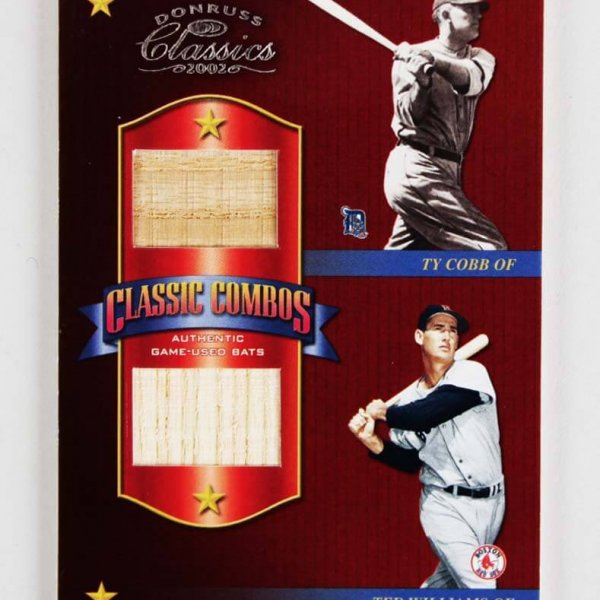 2002 Donruss Classics Game-Used Bat Card 6/15 - Williams, Cobb, Foxx, Gehrig