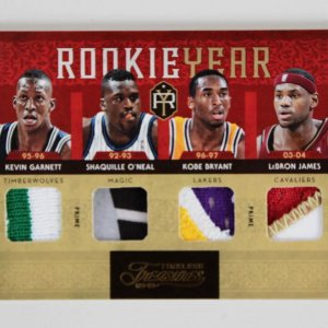 LeBron, Shaq, Kobe & Garnett Rookie Year Panini Card Quad Patch 1/5