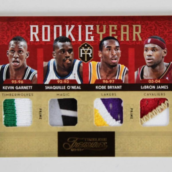 2009-10 Panini Timeless Treasures Rookie Year Quad Patch Card 1/5 LeBron, Shaq, Kobe & Garnett