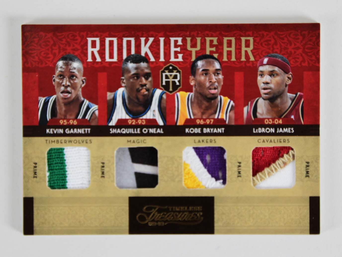 LeBron, Shaq, Kobe & Garnett Rookie Year Panini Card Quad Patch 1/5