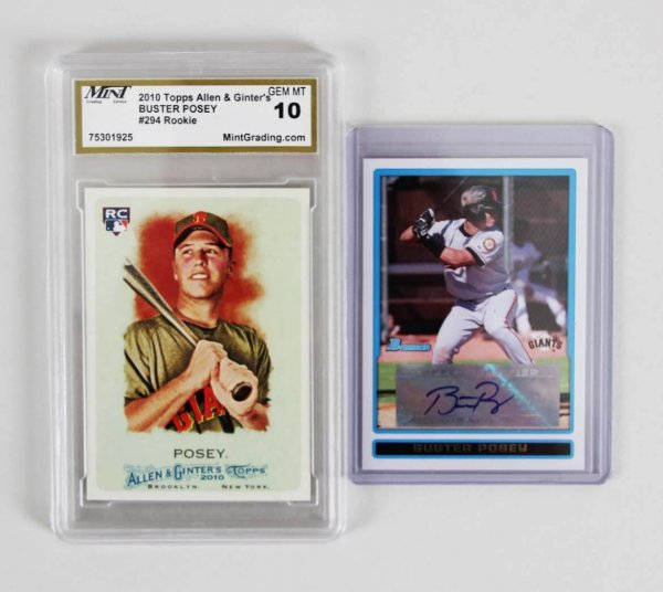 2009 Bowman Prospects Buster Posey Signed RC Rookie Card & Graded Allen Ginter RC