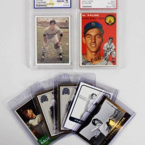 Al Kaline Detroit Tigers Baseball Card Lot (7) Incl. 1954 Topps, (2) 2000 Fleer Greats Signed etc.