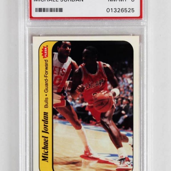1986 Fleer Sticker Michael Jordan Graded Basketball Rookie Card - PSA NM-MT 8