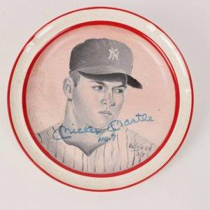 Mickey Mantle Signed Plate Yankees LE 3/7 - COA JSA
