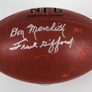 Don Meredith & Frank Gifford Signed NFL Wilson Football - JSA