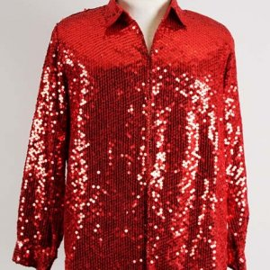 Liberace Stage-Worn Red Sequin Dress Shirt