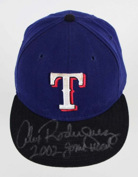 2002 Alex Rodriguez Game-Worn, Signed Texas Rangers Hat - COA Player LOA