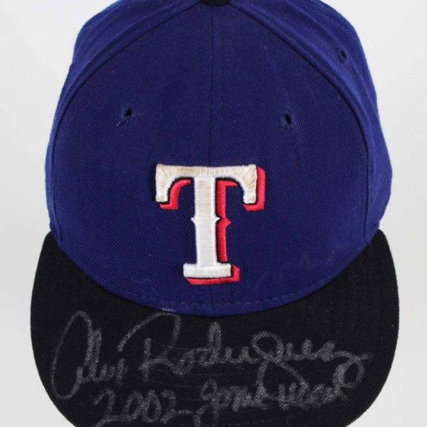 2002 Alex Rodriguez Game-Worn, Signed Texas Rangers Hat - COA Player LOA