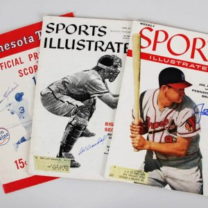 Harmon Killebrew, Joe Adcock & Del Crandall Signed SI Magazines & Program - JSA