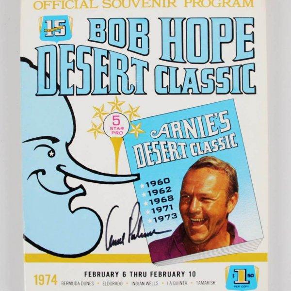 1974 Arnold Palmer Signed Bob Hope Desert Classic Program - JSA