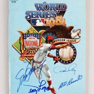 1981 Los Angeles Dodgers Multi-Signed World Series Program - JSA