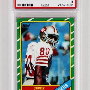 1986 Topps Jerry Rice Rookie Card 49ers #161 PSA Graded NM-MT 8