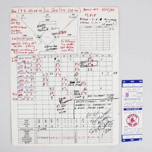 "4/29/86 Red Sox Roger Clemens Signed & Inscribed  Original ""20ks"" Ken Coleman Score Card"