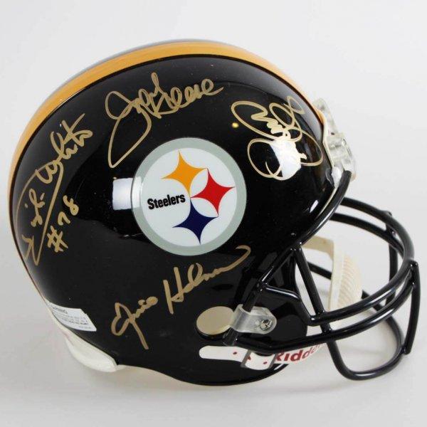 """Pittsburgh Steelers - """"Steel Curtain"""" Signed Full Size Replica Helmet [Dwight White (Deceased), Ernie Holmes (Deceased) ,L.C. Greenwood (Deceased)& Mean Joe Greene]"""