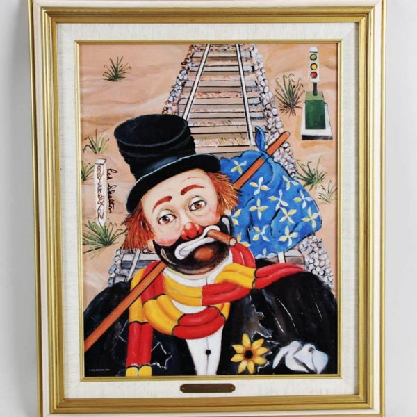 """Red Skelton Signed """"The Traveler"""" 14×18 Lithograph"""