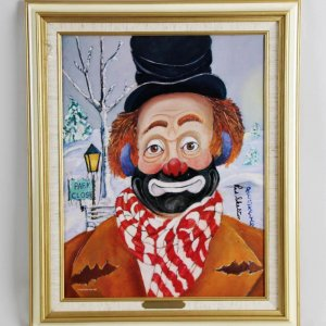 """Red Skelton Signed """"Winter Wonderland"""" 14×18 Lithograph"""