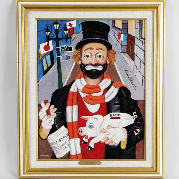 """Red Skelton Signed """"The Banker"""" 14×18 Lithograph"""
