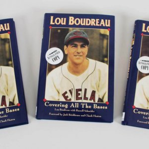"Lou Boudreau Indians Signed ""Covering All The Bases"" Books Pair - COA"