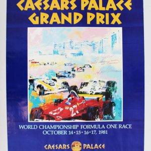 LeRoy Neiman Signed 23x29 1981 Caesars Palace Grand Prix Poster - JSA