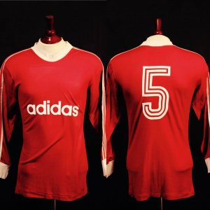 A Franz Beckenbauer Game-Used #5 FC Bayern Munich Home Shirt.  (1970's).  Includes:  Rare Signed Book & Signed Photograph.