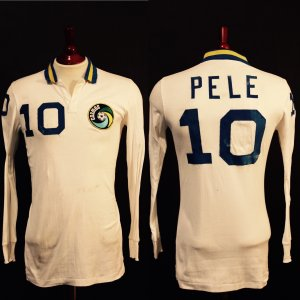 A Pele Game-Used #10 New York Cosmos Home Shirt (1980's).  Includes Extras, Including Team Garment/Travel Bag.