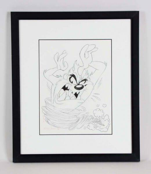 The Tasmanian Devil Pencil Animation Drawing 22.5 x 26.5 Display Signed by Artist Kelley Jarvis