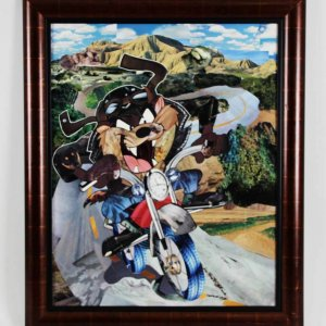 Looney Tunes - Tasmanian Devil Motorcycle Magazine Collage Art 29x35 Display