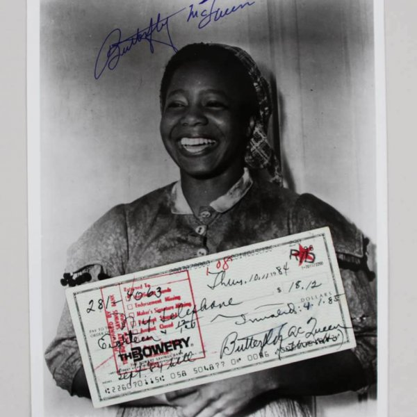 Butterfly McQueen Signed 8x10 Photo & Check - JSA