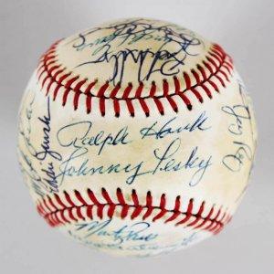 Boston Red Sox Multi-Signed  OAL (Brown) Baseball - Roger Clemens, Johnny Pesky  JSA