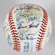 Boston Red Sox Multi-Signed OAL (Brown) Baseball - Roger Clemens, Johnny Pesky - JSA