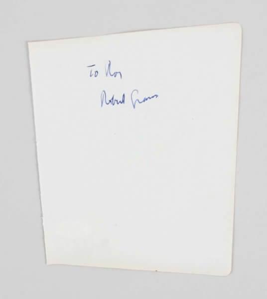Robert Graves Signed 5x6 Vintage Album Page - COA JSA