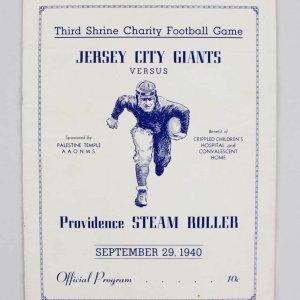 1940 Jersey City Giants vs. Providence Steam Roller Program