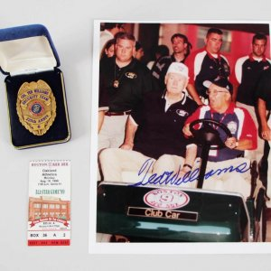 Col. Ted Williams Security Team 225th Anniversary Badge & Signed Photo - JSA