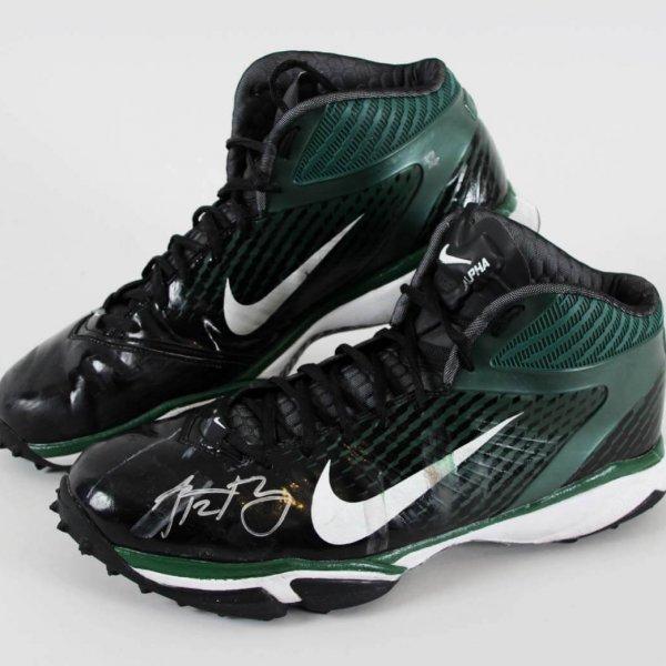 2014 Aaron Rodgers Game-Worn, Signed Green Bay Packers Cleats - JSA Full LOA